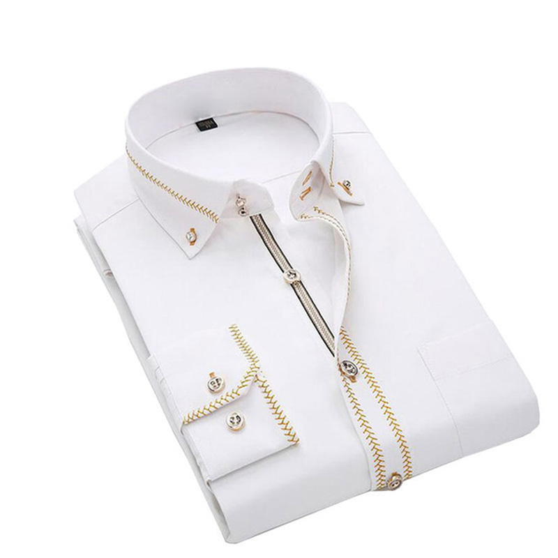 Jeetoo 2019 Men's Solid Slim Casual Wedding Shirt Business Long Sleeve Men Dress Blouses Work Wear Formal Male Tuxedo Plus Size