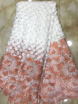 Embroidered polyester lace clothing fabric double color chemical material water soluble lace cloth embroidery lace party LYY919