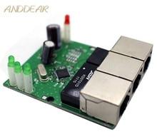 OEM interruptor mini interruptor 3 puertos ethernet de 10/100 mbps rj45 red hub switch módulo pcb Junta sistema la integración