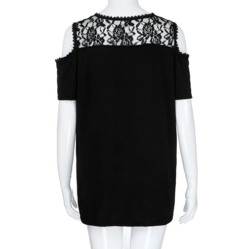 Summer Top Plus Size XL- 5XL Cold Shoulder Strapless Lace Short Sleeve Shirt Tops O Neck Lace Patchwork Solid Shirt Roupa#RB  3