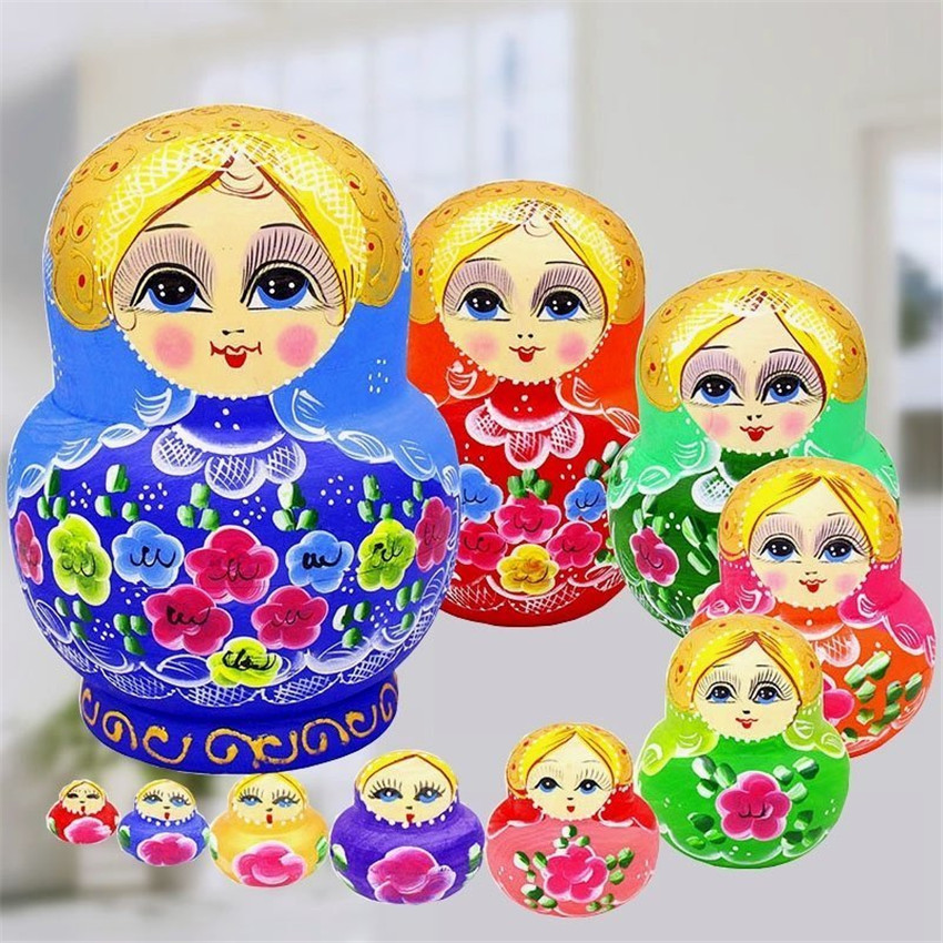 10 Layer Colorfull Flower Russian Dolls Formaldehydeless Dry Basswood Fashion Matryoshka Dolls Nesting Wooden Toys L50