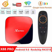 X88 pro Android 9.0 TV Box Voice Gyro 4G 64G Rockchip RK3318 4 Core 2.4G&5G Wifi 4K HDR Set Top Box USB 3.0 Support 3D Movie