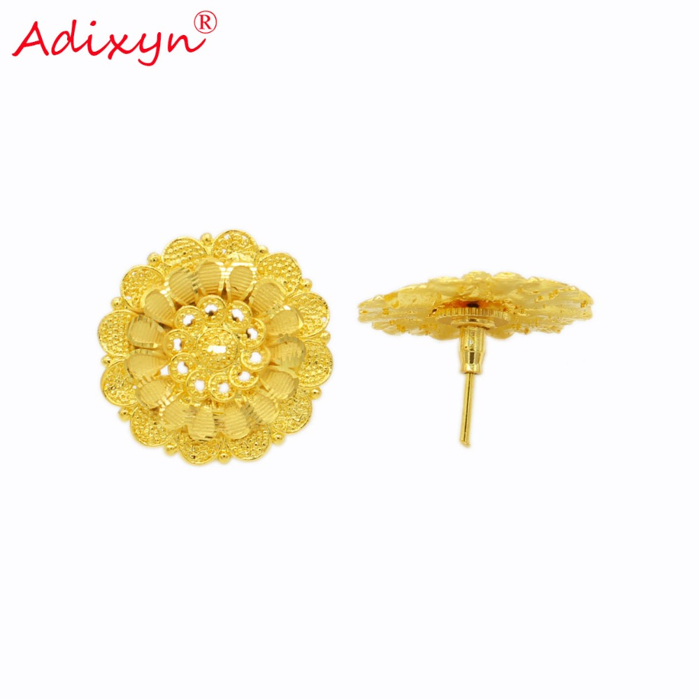 Adixyn Light Weight Stud Earrings For Women/Girls Gold Color/Copper Fashion Jewelry Party/Birthday Gifts N02209