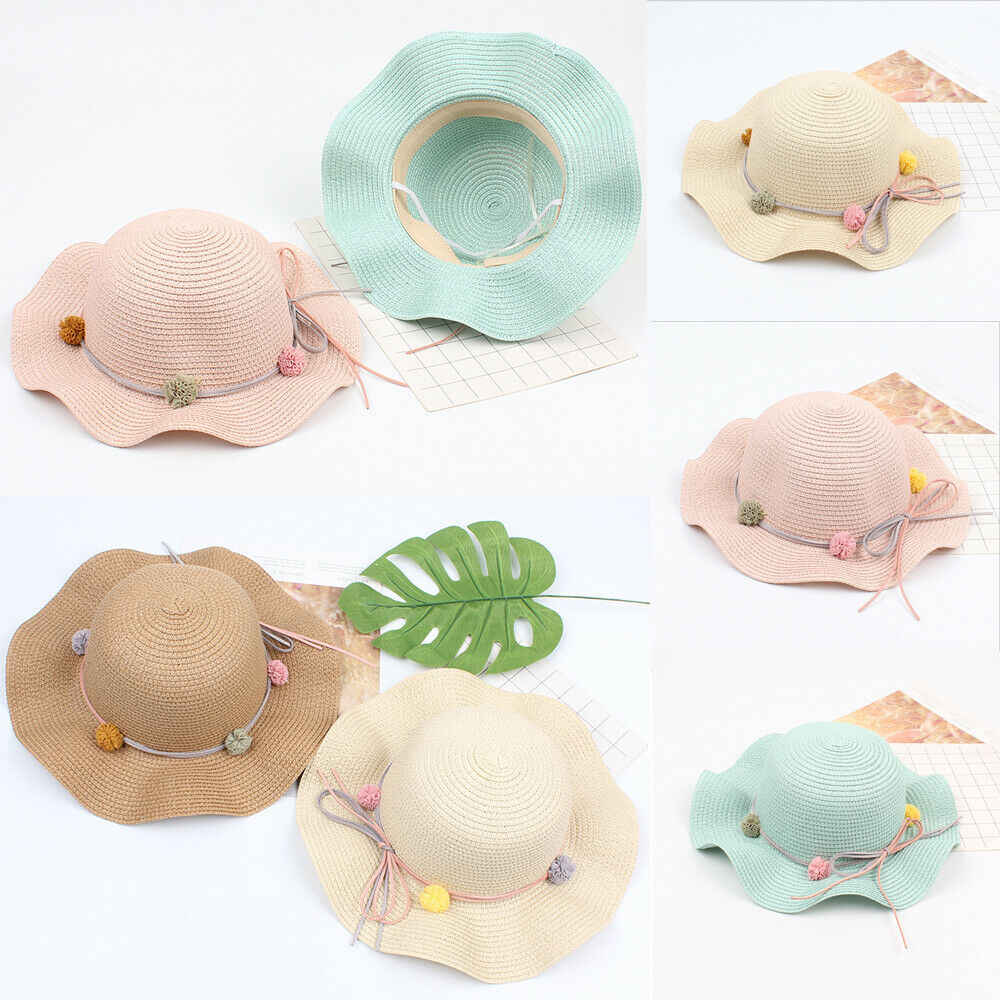 Newborn Cute Toddlers Kid Baby Girls Flower Princess Sun Hat Cap Summer Cotton Beach Hat Bonnet US