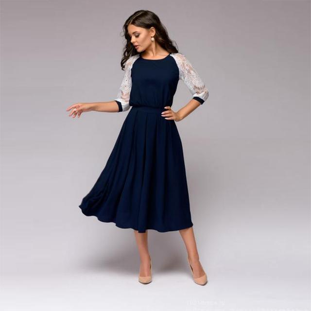 Vintage Three Quarter Sleeve Knee-Length Lace Patchwork A-Line Dress