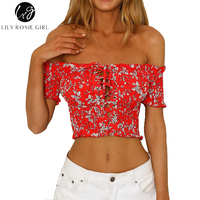 Lily Rosie Girl Red Boho Floral Print Women Crop Shirts Short Sleeve Backless 2018 Summer Beach
