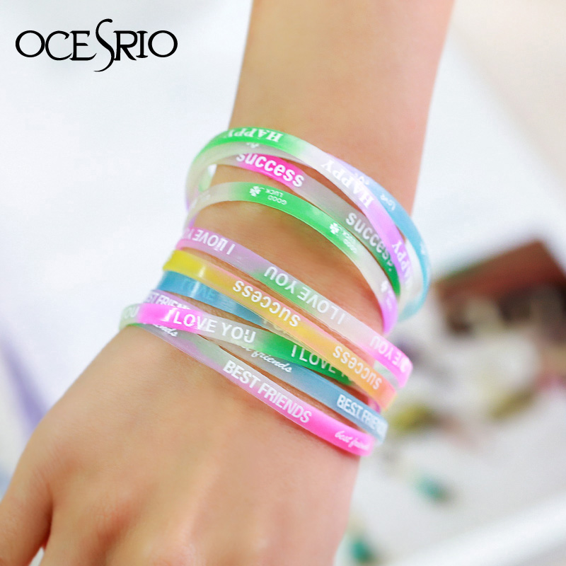 OCESRIO 10 pieces/lot Colorful Letter Sport Silicone <font><b>Bracelet</b></font> <font><b>Set</b></font> <font><b>Unisex</b></font> <font><b>Bracelets</b></font> $ Bangles Fashion Jewelry Event Gifts brt-k38 image