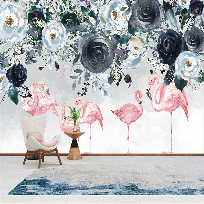 Classic Wallpaper 3D Stereoscopic Flamingo Photo Wall Mural White Black Flower Wallpapers Wall Papers for Living Room Home Decor custom mural wallpaper 3d stereoscopic relief peony jewelry flower wall painting study bedroom living room decor photo wallpaper