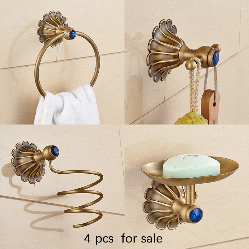 Aothpher Hairdryer Holder, Soap Dish, Towel Ring, Robe Hook  All Brass Construction Bathroom Accessories Sets 4 pieces together european style brass antique bronze solid brass bathroom soap holder soap basket bathroom accessories soap dish bathroom shelf