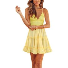 ФОТО summer dresses strap sexy v-neck backless bow lace stitching fold dress female solid pleated spaghetti dress