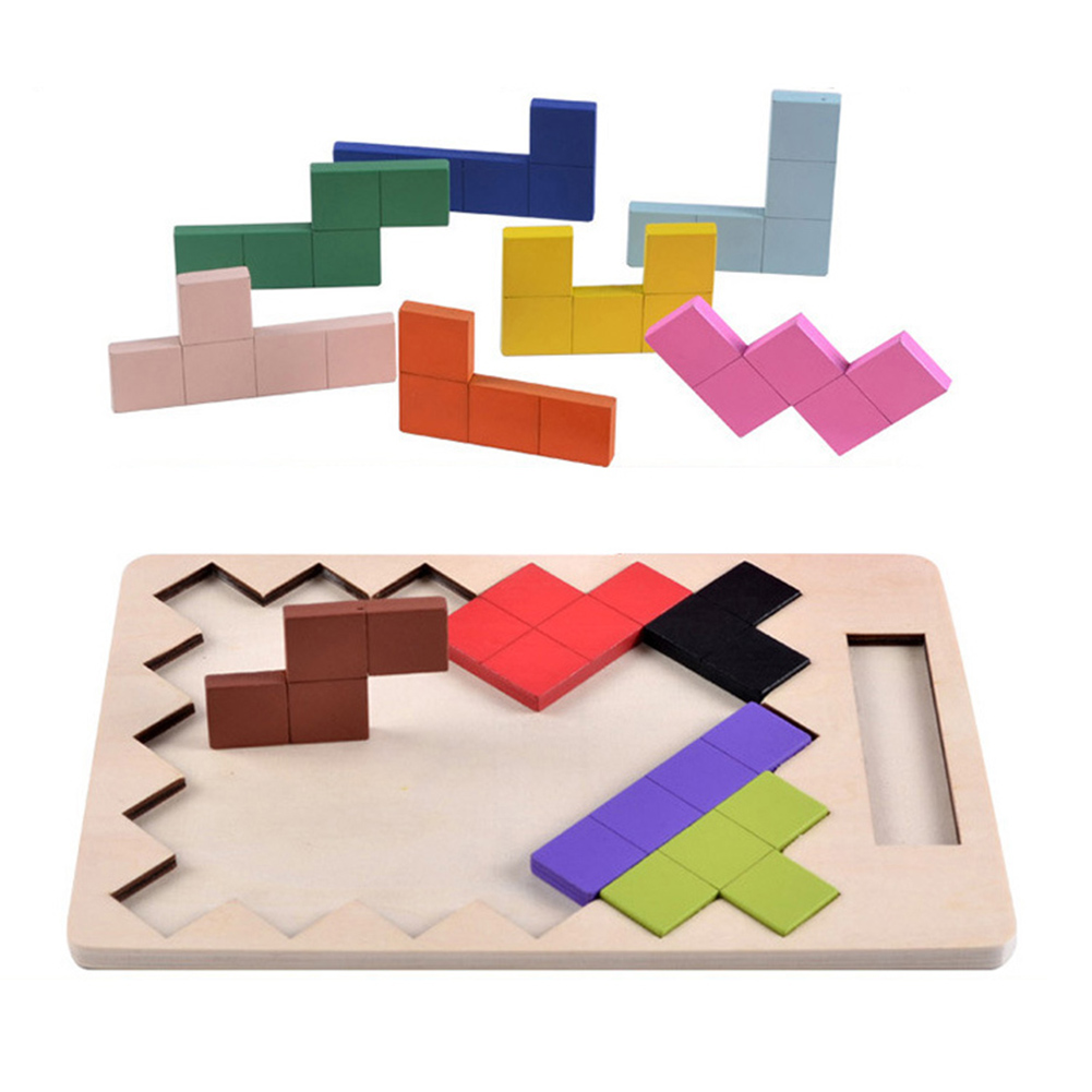 Wooden Tangram Brain Teaser Puzzle Toys Colorful Tetris Game Puzzles Kids Children Brain Develop Educational Toy Christmas Gift конструктор fat brain toys pipsquig fa089 1