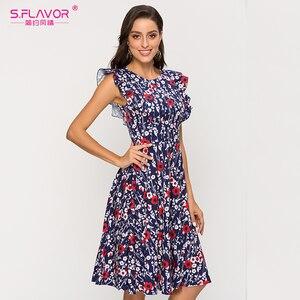 Image 3 - S. Smaak Vrouwen Mouwloos A lijn Zomer Jurk Elegant Printing Midi Jurk Voor Vrouwelijke 2020 Mode Slim Casual Jurken