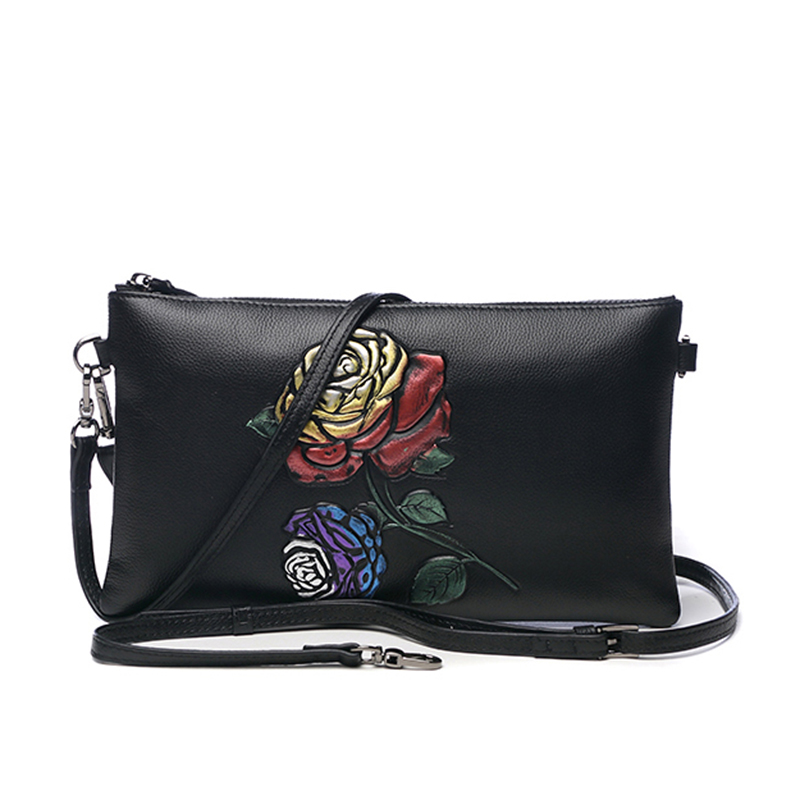 Vintage Genuine Leather Embossing Rose Clutches Wallet Women Handbag Zipper Purse Wristlet Lady Shoulder Envelope Evening Bag vintage serpentine genuine leather woman clutches evening bag crossbody chain shoulder bag handbag clutch wallet lady long purse