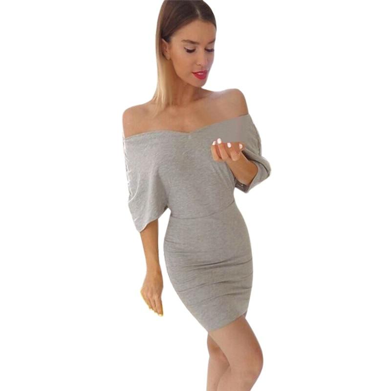 snowshine YLI Women Sexy V Neck Off Shoulder Lady Slim Bodycon Dress Mini Party Dress free shipping
