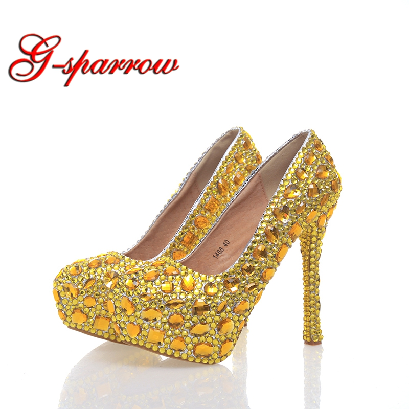 2018 Fashion Gold Rhinestone High Heels Party Prom Bridal Wedding Women Shoes with Platforms Plus Size 42 43 Bridesmaide Shoes red color rhinestone partyprom stiletto bridal wedding shoes plus size 42 43 handmake crystal women high heels cinderella shoes