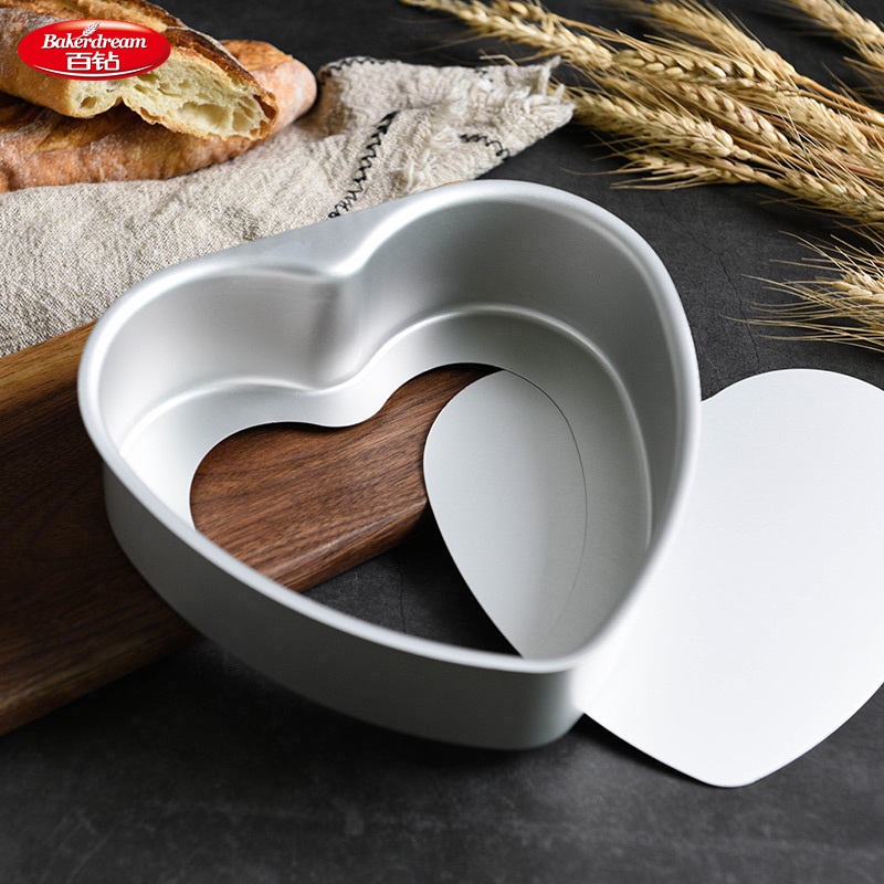 Bakerdream corazón forma Cake Pan antiadherente para hornear Pan de queso en forma de corazón herramientas con fondo desmontable hornear latas