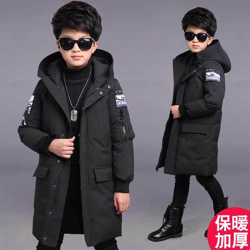 Jongens Winter Jas 2018 Bont Hooded Kids Down Jassen Grote Jongens Parka leeftijd 5-14 jaar Thicken Warm Winter kinderen Outfit