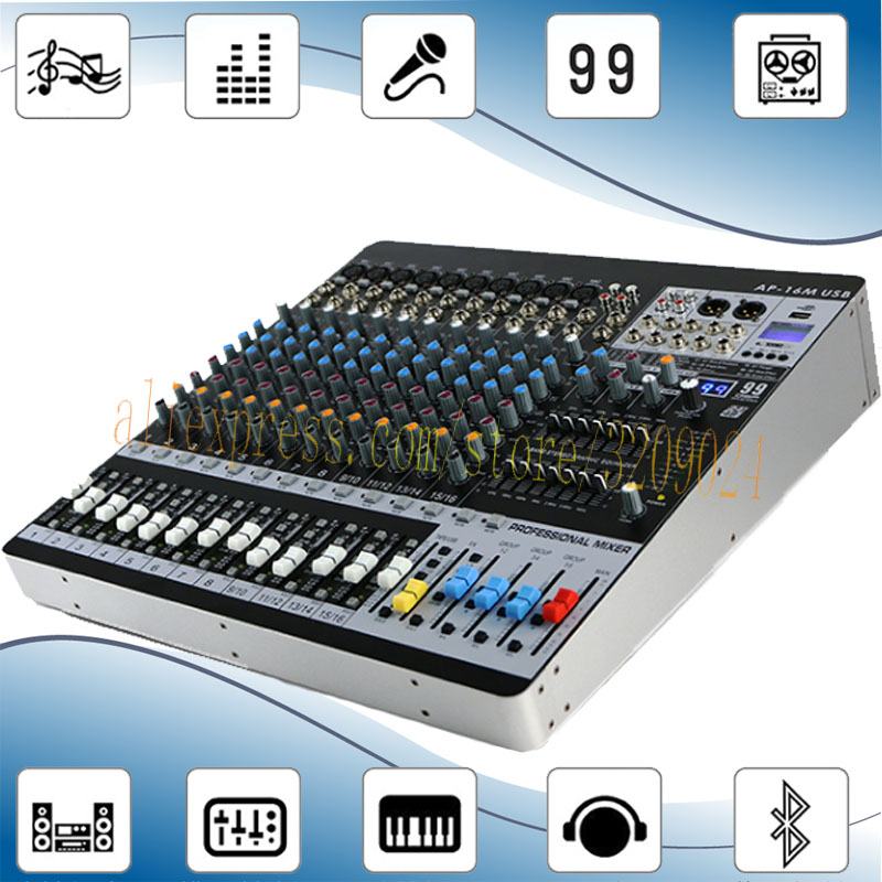 16 Channels Bluetooth Mixer 99 Kinds of Digital Effects 6 Group Output Dual 7 band Equalizer