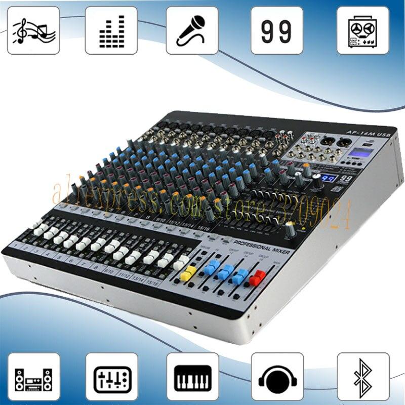 16 canaux Bluetooth Mélangeur 99 Sortes de Numérique Effets 6 Groupe Sortie Double 7-égaliseur Bluetooth Performance Mélangeur
