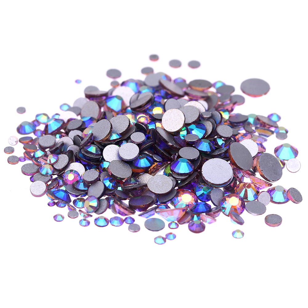 Light Amethyst AB Non Hotfix Crystal Rhinestones SS3-SS30 And Mixed Sizes Glue On Glass Chatons DIY Crafts Garments Supplies non hotfix crystal rhinestones light rose ss3 ss34 and mixed sizes flatback glue on strass stones shiny glass chatons diy shoes