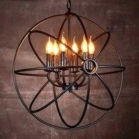 LukLoy Vintage Pendant Light Kitchen Retro Hanging Lamp Planet Sphere Loft Iron Pendant Lighting Fixture Living Room Hanglamp