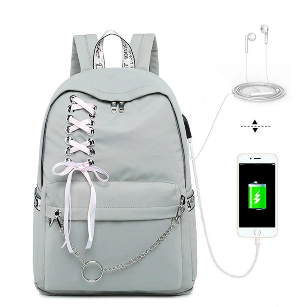 Модный школьный рюкзак для девочек, Женский студенческий рюкзак для ноутбука, детские школьные сумки для девочек-подростков, женские серые рюкзаки, Mochila Escolar