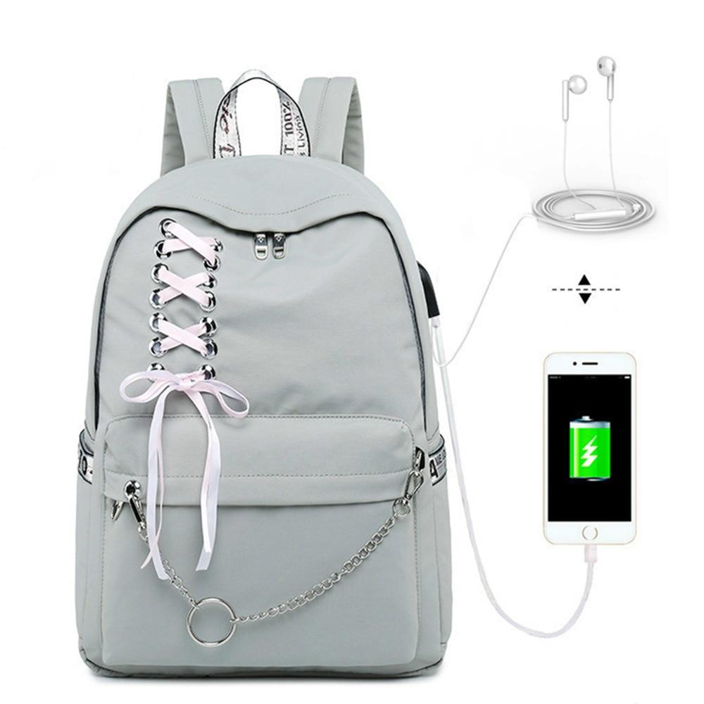 Fashion Girl Schoolbag Female Students Laptop Backpack Kids School Bags For Teenage Girls Women Gray Backpacks Mochila Escolar-in School Bags from Luggage & Bags