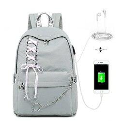 Mochila de moda para niñas Mochila para ordenador portátil para estudiantes mochilas para niñas adolescentes mochilas grises para mujeres Mochila Escolar