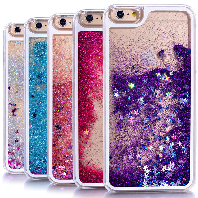 7227a3b8e7 Dynamic Liquid Glitter Sand Quicksand Star Cases For iphone 4 4S 5 5s SE/6  6s / 7 plus Crystal Clear phone Back Cover phone case