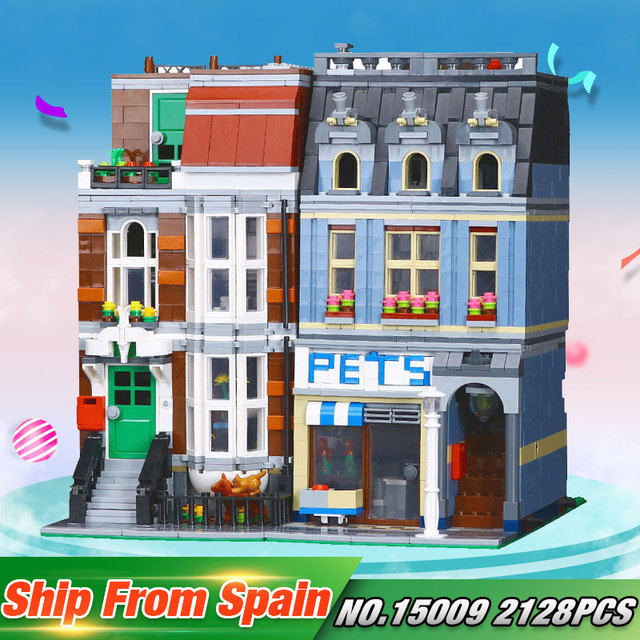 DHL New Toy 15009 City Series The 10218 Pet Shop Supermarket Model City Street Building Blocks Funny Christmas Toys For Children
