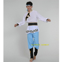 Man Asian National Costumes Mongolia Folk Dancing Top Jacket Pants,Chinese Folk Dance Mongolian Ethnic Stage Performance Clothes