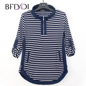 BFDADI Long T-Shirts Stand-Up Edge-Design Autumn Plus-Size Women Tops Tees Collar Stripe