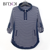 BFDADI 2017 New Plus size Autumn Long T Shirts Women Casual Stripe Loose Stand up collar rolled edge design Tees Tops 4440