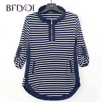 BFDADI 2019 New Plus size Autumn Long T-Shirts Women Casual Stripe Loose Stand-up collar rolled edge design Tees Tops 4440