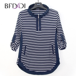 BFDADI 2019 Nieuwe Plus size Herfst Lange T-Shirts Vrouwen Casual Streep Losse opstaande kraag rolzoom ontwerp Tees tops 4440