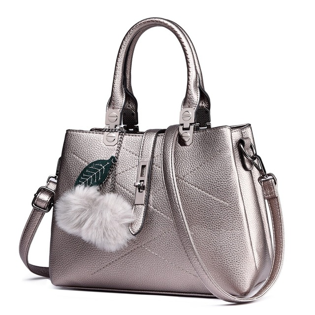 Miss Lulu Women Fur Ball Handbags Ladies PU Leather Tote
