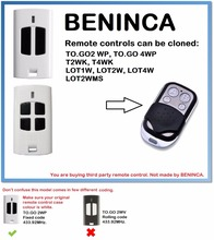BENINCA TO.GO 2WP, 4WP Remote Control Duplicator 4-Channel  (only for 433.92mhz fixed code)