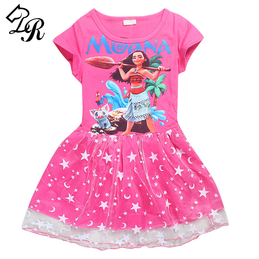 2017 Summer Girl Dress Cartoon Moana for Girls Clothes