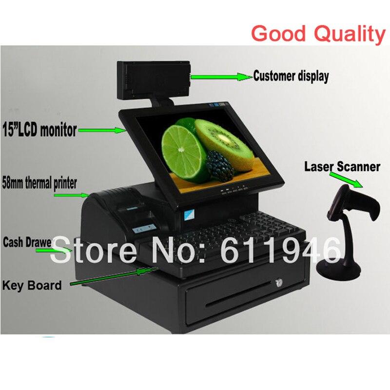 Écran tactile électrique de 15 pouces tout en un système de position avec imprimante thermique/Scanner laser/tiroir-caisse/affichage client/clavier