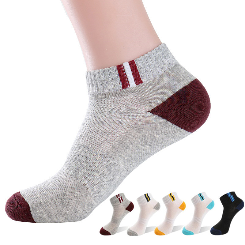 5 Pairs High Quality Mens Autumn Summer Socks Classic Patchwork Mesh Breathable Cotton Men Short Sock Male Socks EU 39-43 Meias