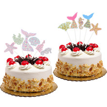 2 style Mermaid Cake Toppers Flags Glitter Kids Birthday Ocean Cupcake Topper Wedding Baby Shower Party DIY Muslim Baking Xmas