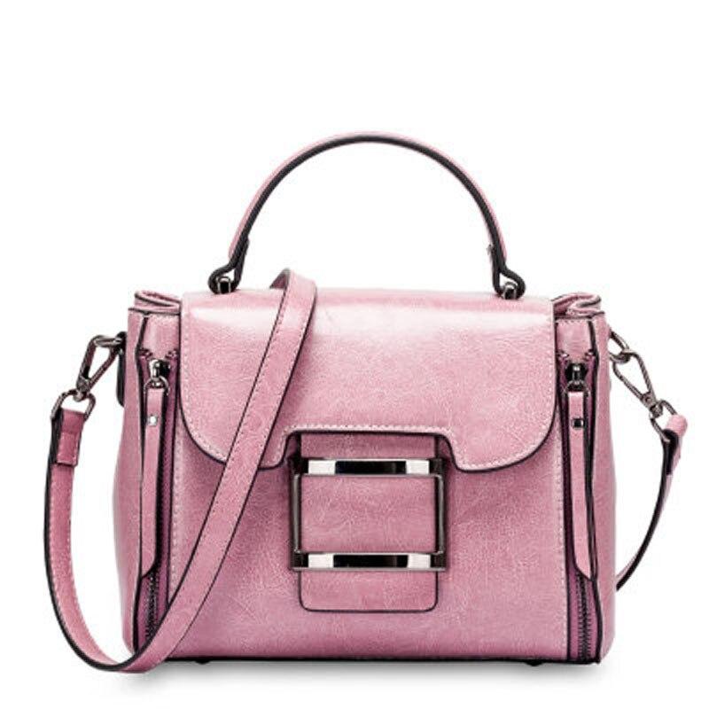 Leder 2019 rot Neue Stil Schwarzes Mode Amerikanischen Beliebte Und Geninus Wachs Handtaschen Schulter rosa Tasche Frühling brown Europäischen 4nwHzTtqn