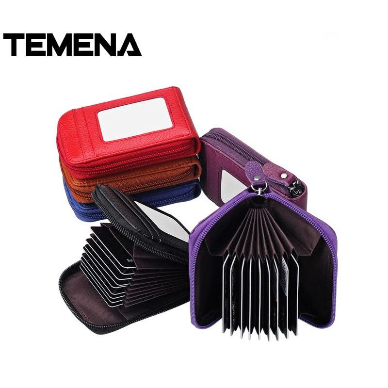 Temena RFID 2018 New Genuine Leather Women Credit Card Holder Anti Theft Zipper Small Female ID Card Wallet tarjetero ACH238