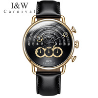 Carnival Quartz Watch Men Black Leather Strap Mens Watches Magic Design Multiple Time Zone Waterproof Wristwatch erkek kol saati