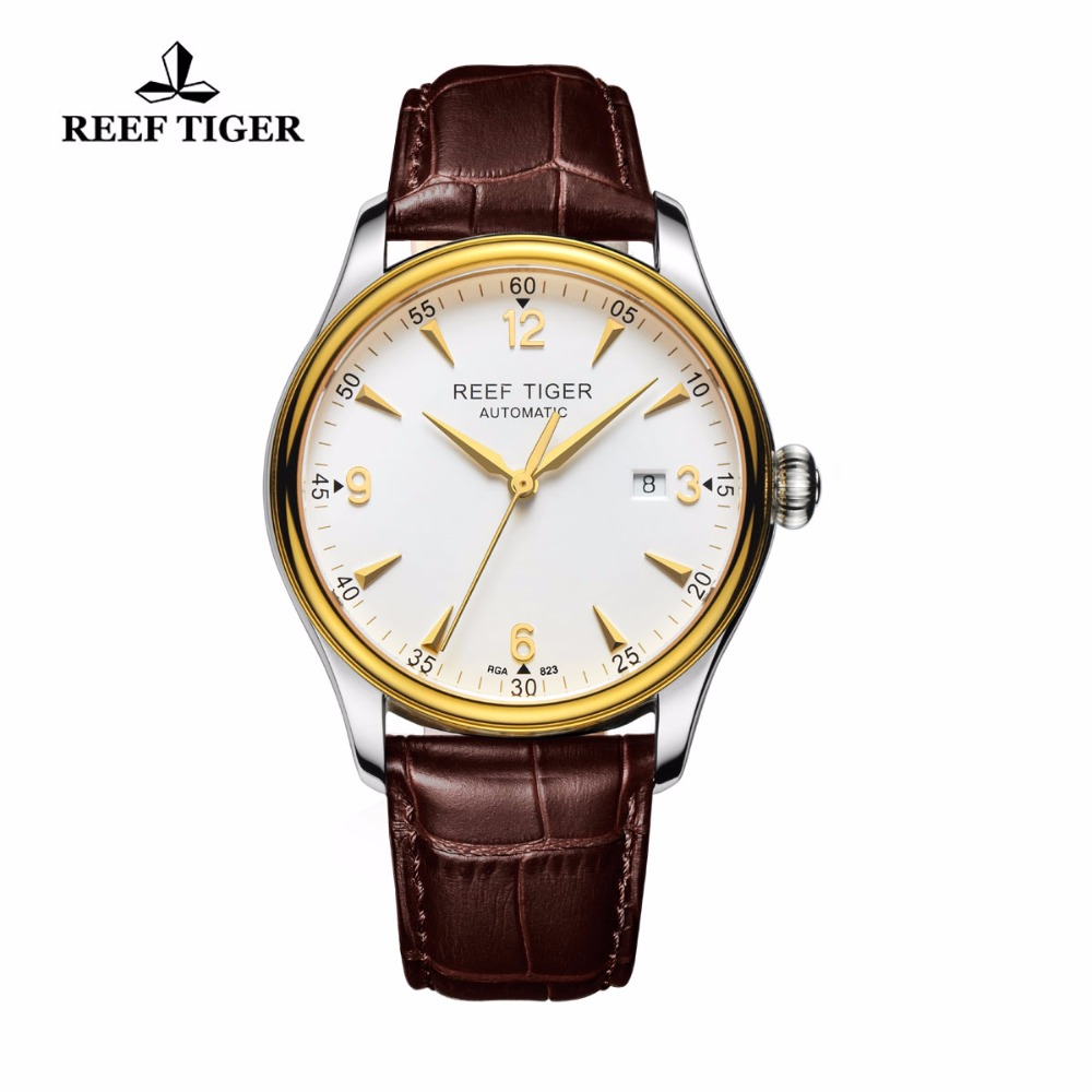 Reef Tiger/RT Casual Automatic Watches Yellow Gold Steel Watches For Men With Date and Leather Strap Watches RGA823Reef Tiger/RT Casual Automatic Watches Yellow Gold Steel Watches For Men With Date and Leather Strap Watches RGA823