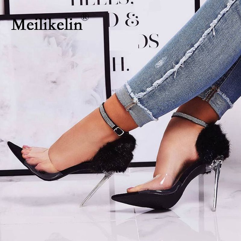 2019 women's shoes summer sandals Fluffy pointed peep toe Crystal clear stilettos high heels shoe Rabbit Fur Feather woman shoe