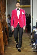 Latest Coat Pant Designs Hot Pink Velvet Men Suit Slim Fit 2 Piece font b Blazer