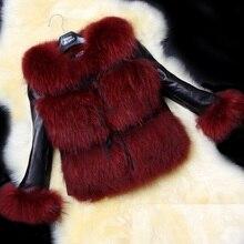 2016 New Women Faux Fur Coat Casual Short Faux Fox Fur Coat Ladies Faux Leather Outerwear Warm Autumn Winter Jackets Coat CT238