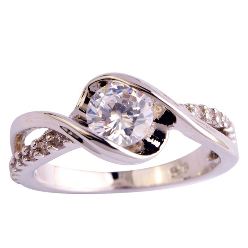 b4623dc4a89a Kuniu 2017 moda anillo de compromiso joyería regalo de Año Nuevo corte  redondo blanco plata anillo mujer 6-12 tamaño de moda al por mayor