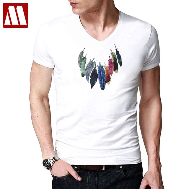 Men Feather Necklace Printing T-shirt 2018 Summer Mans Short Sleeve T-shirts  Stretch